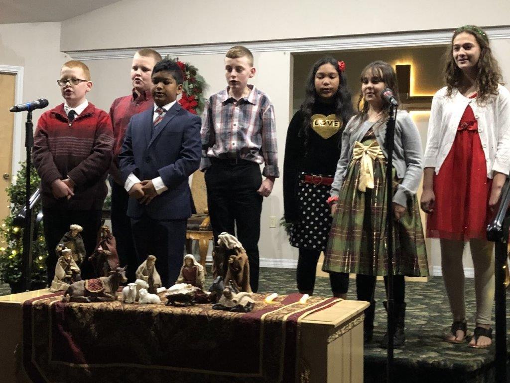 Children singing during Christmas program