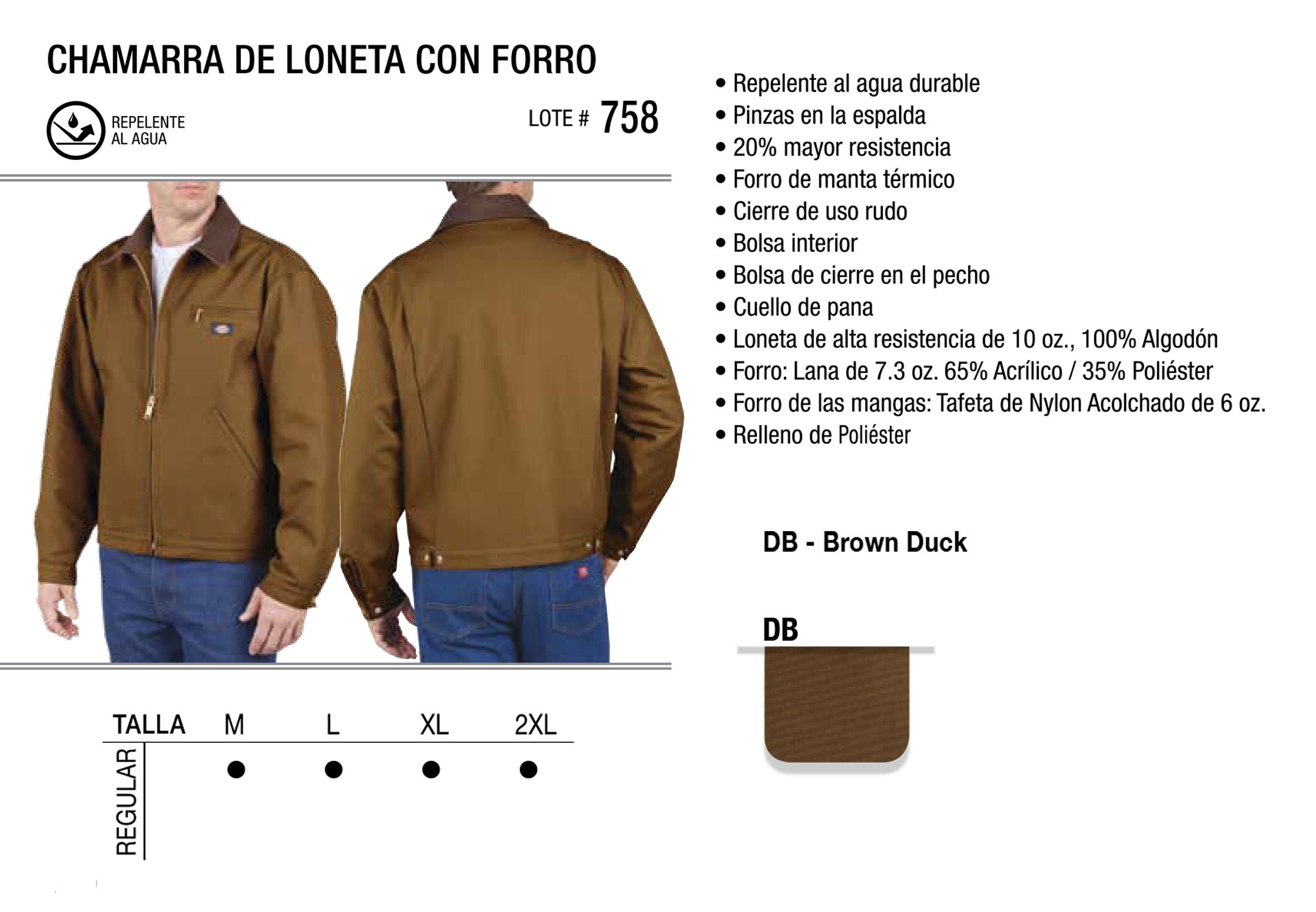 Chamarra de Loneta con Forro. 758.