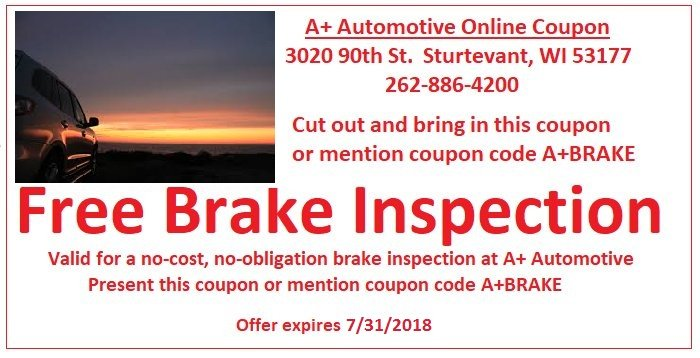 Free Brake Inspection Coupon - A+ Automotive