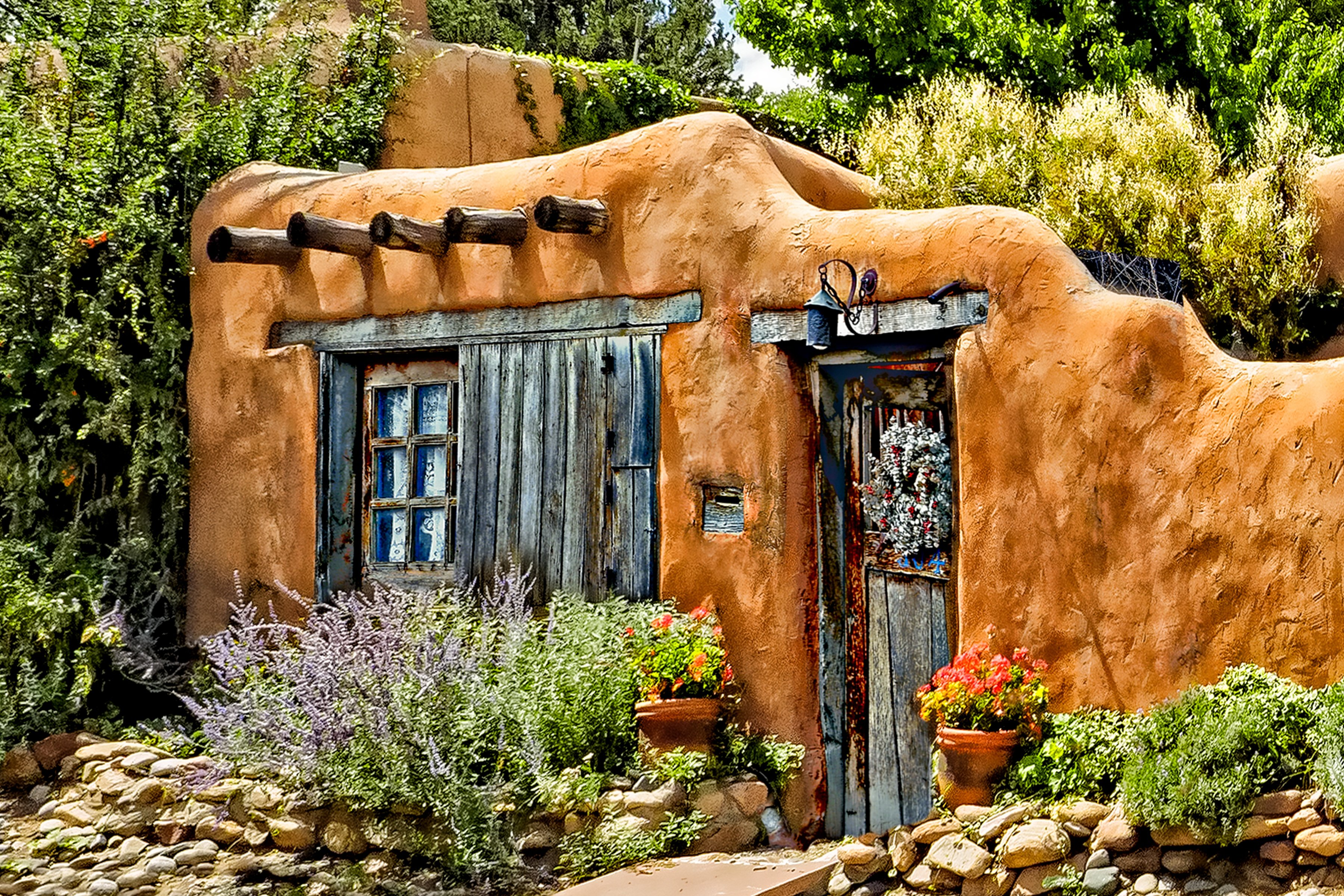 CANYON ROAD - A residence tucked among the galleries of Canyon Road in Santa Fe.
