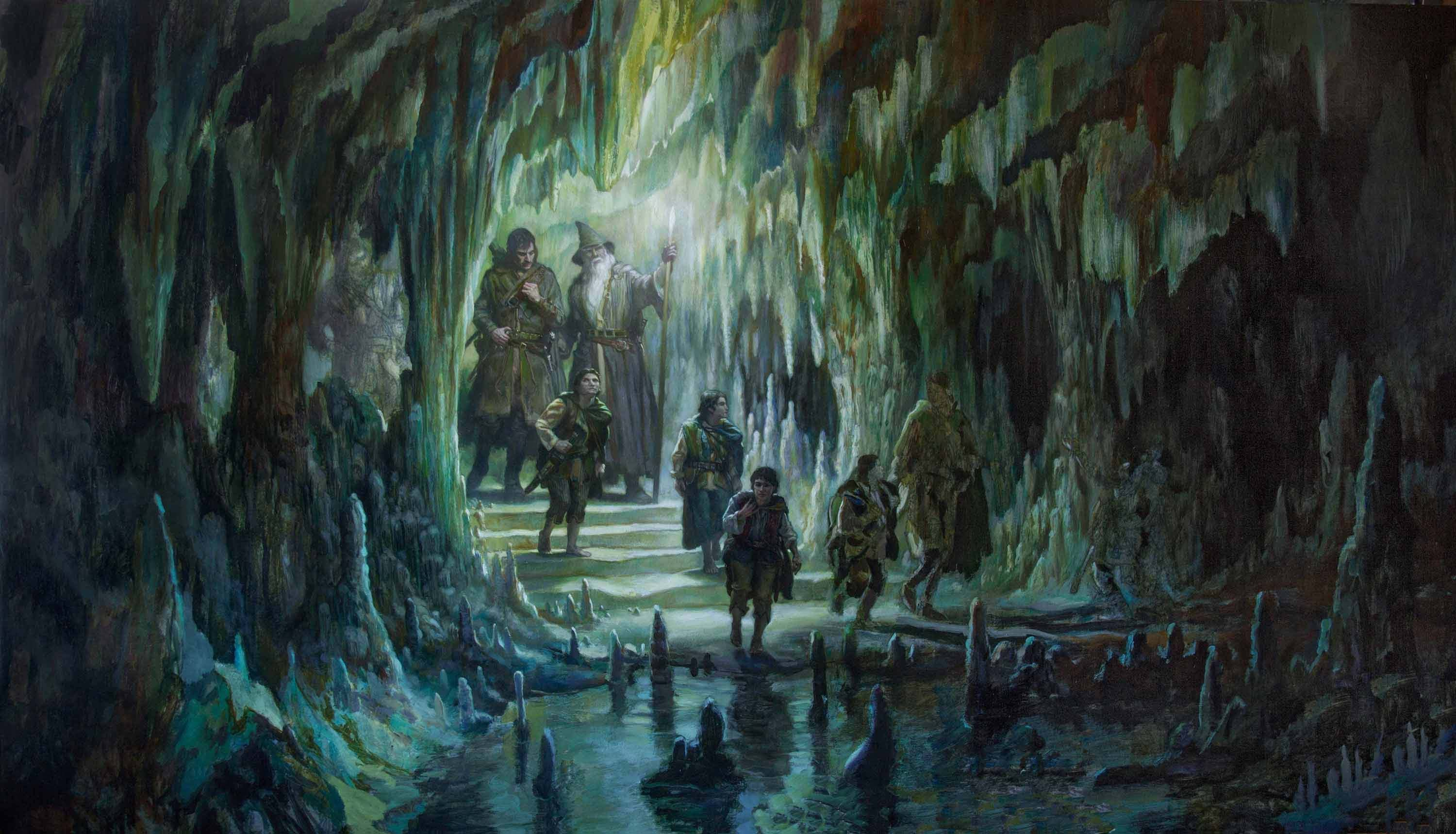 "The Fellowship of the Ring in Moria 44"" x 78""  Oil on Panel  2016 collection of François Mainard"