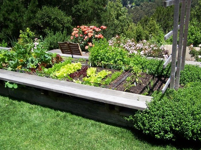 Raised Planter Beds With Bench 2