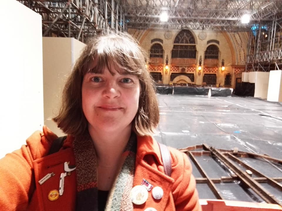 Susan  at the Spanish Suite, Winter Gardens, Blackpool during the renovations