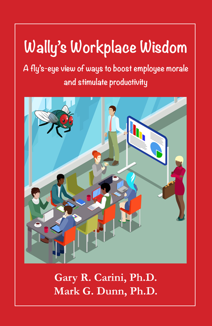 """Wally's Workplace Wisdom"" book cover, showing Wally the fly hovering over a business meeting"