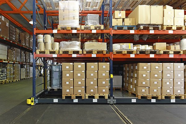Warehouse with mobile shelving system