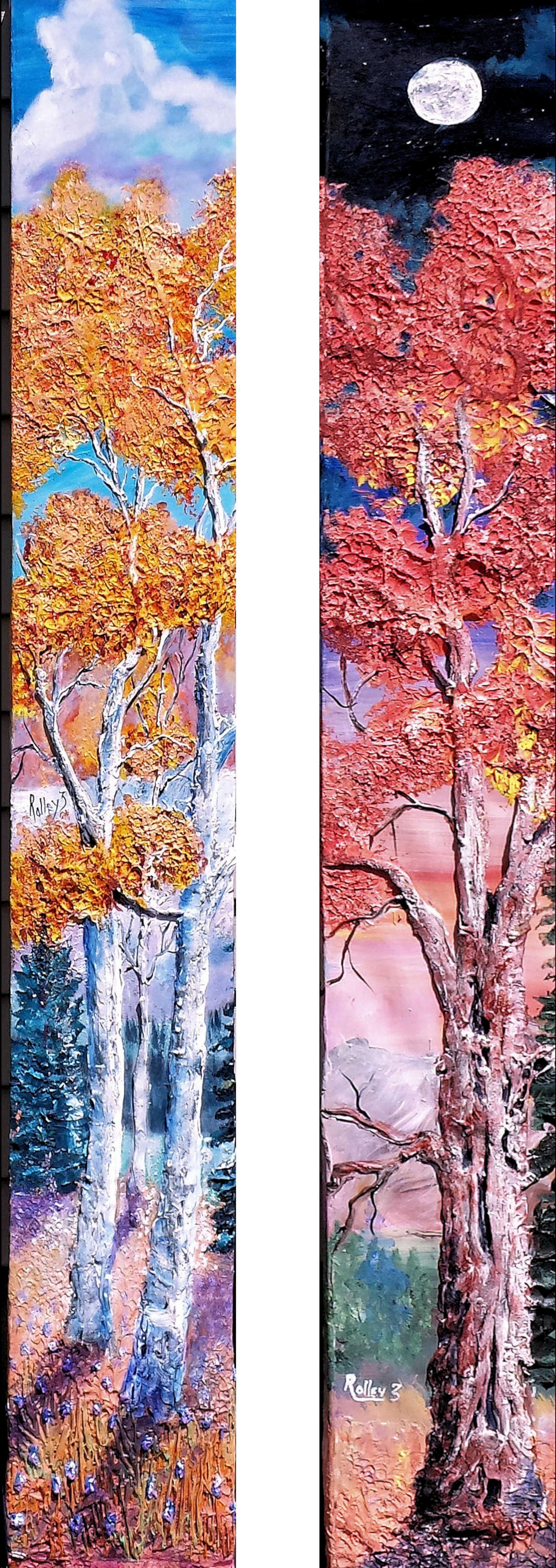 diptic        (2 paintings)  long-fall-painting 9x60in $600