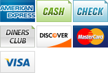 We accept American Express, Cash, Checks, Diners Club, Discover, MasterCard and Visa.||||