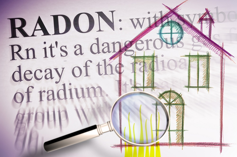 Sketch of home and magnifying glass with radon text