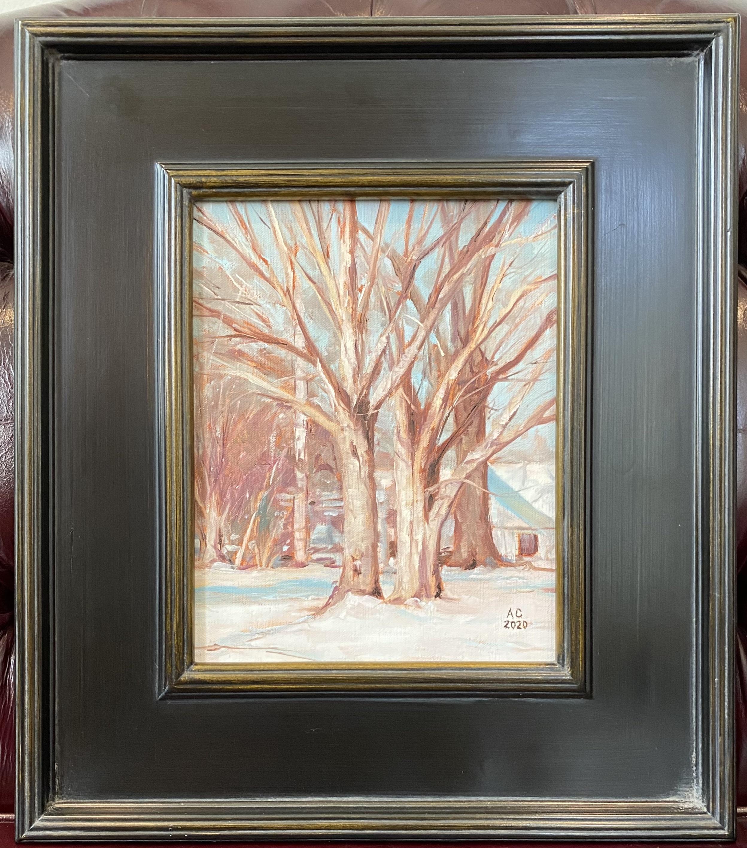 """Three Snow Buddies  (Lovington, IL) Oil 8"""" X 10"""" $195."""