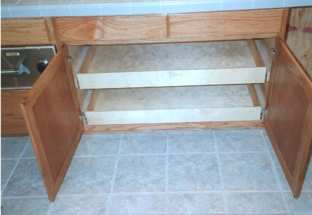 "Wide Slide Out Drawers with extra strength 1/2"" bottoms"