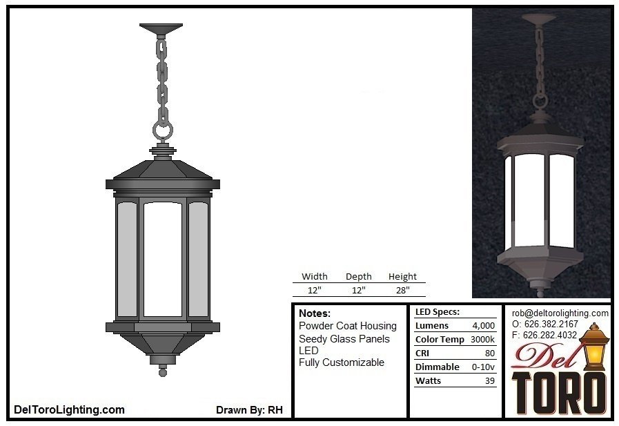 221P-Framed Column Pendant