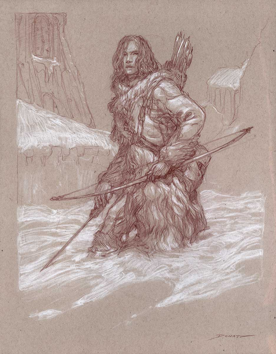 "Ygritte 14"" x 11""  Watercolor and chalk on toned paper private collection"