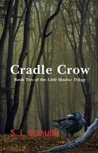"""Cradle Crow"" book cover, showing a closeup of a crow in a dark, mist-shrouded forest"