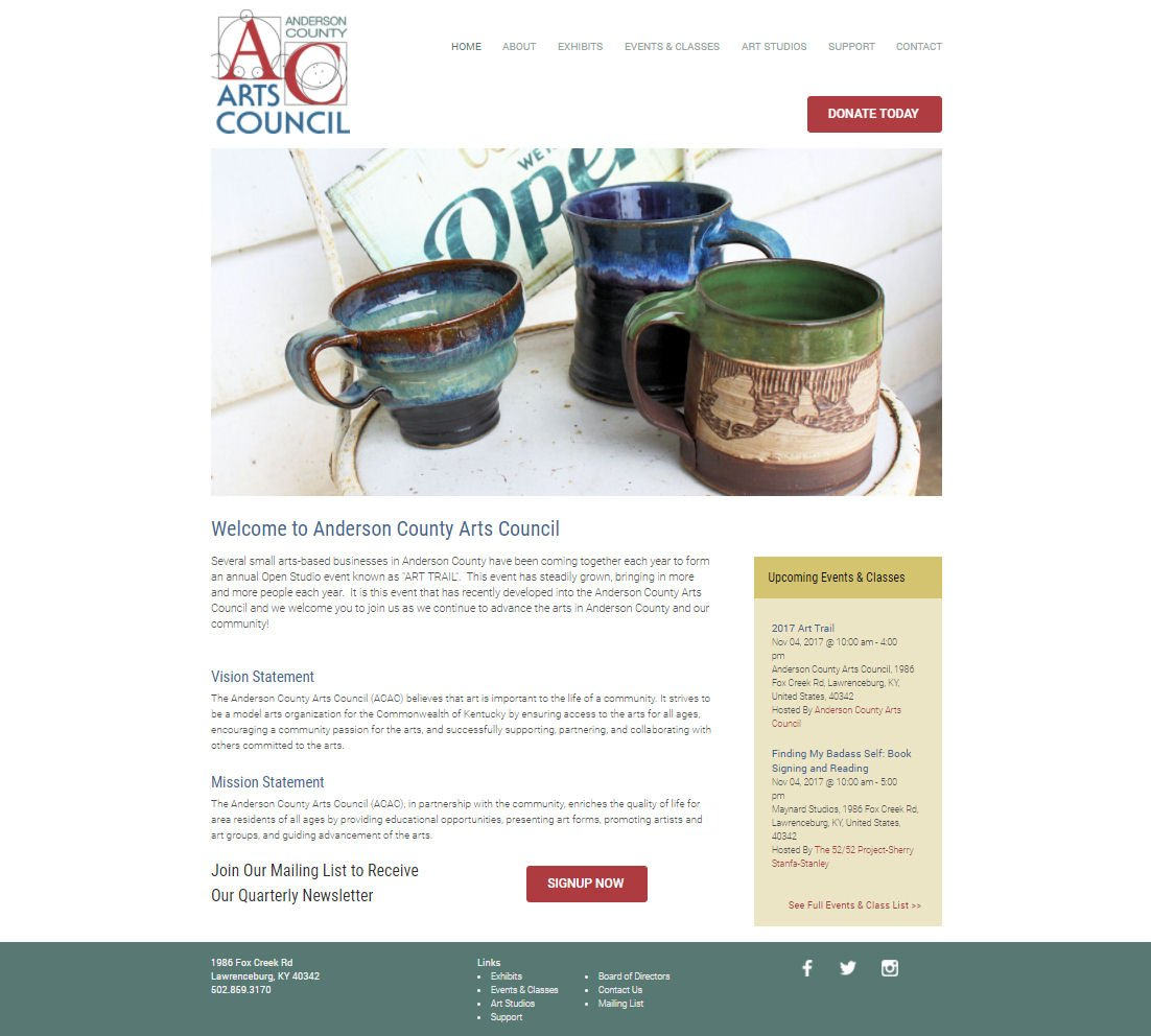 Anderson County Arts Council Website
