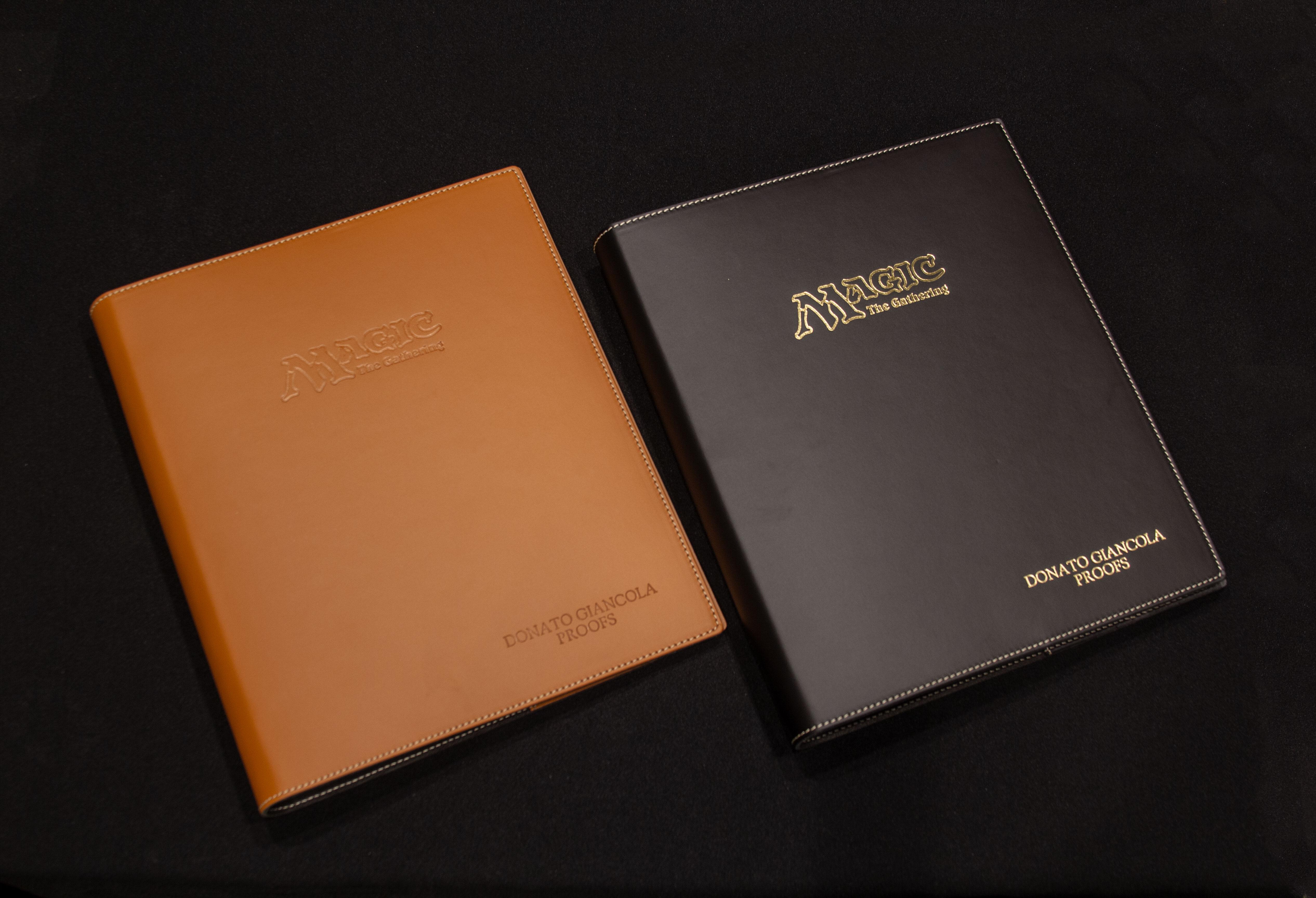 Embossed Italian Leather binder - option tan or black