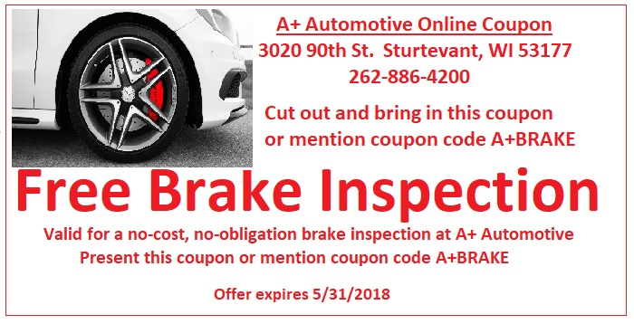 Bring this coupon in for a free brake inspection.
