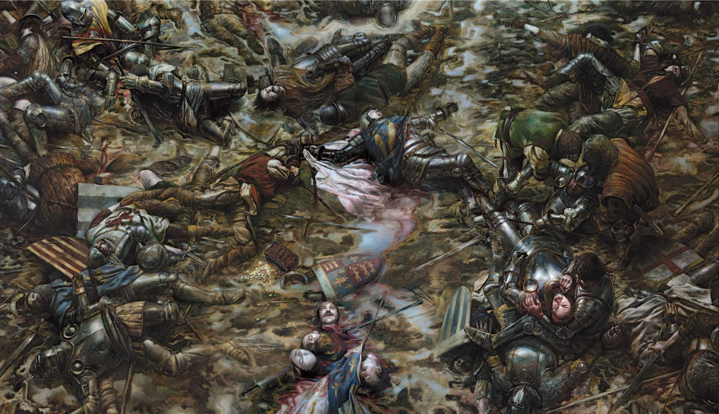 "The Battle of Agincourt, 25 October 1415  center panel of triptych 48"" x 84""  Oil on Panel Collection of Scot Tubbs"