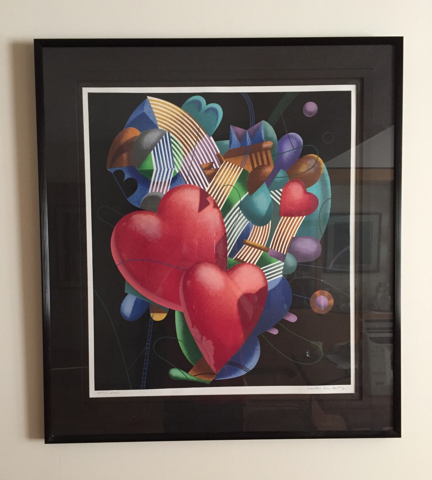 "Yankel Ginzburg Artist Proof Lithograph 29""x 32"" framed $225."