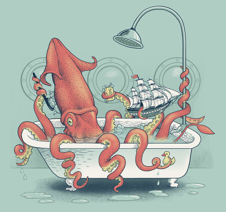 "Kraken Bath Time Silkscreen 12"" X 16"" $60."