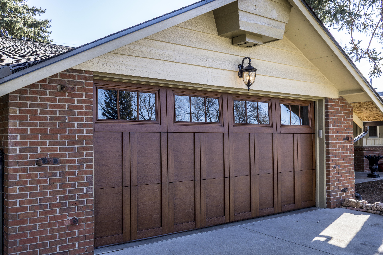 Wooden Garage Door with Windows at the Top