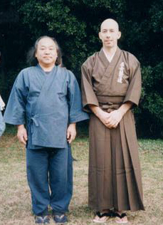 "1993. Shimazu Kenji: 18th Shihan of Yagyu Shingan Ryu Jujutsu. Power sensei says, ""I met Shimazu Sensei at Meiji Shrine during the Culture Day enbu. I recognized him from his photos in ""Hiden Magazine,"" but never met him before. I rushed right up and presented myself as a reader of ""Hiden."" He was very down-to-earth and jovial. Bet he's hell in the dojo!"""