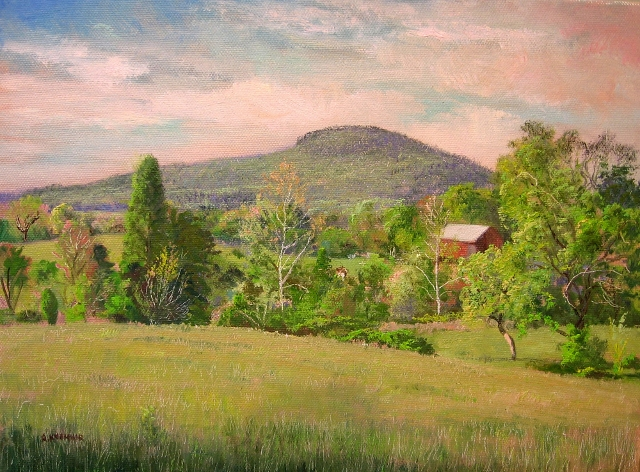 43. Sugarloaf Mountain at Barnesville, 9x12 oil on canvas