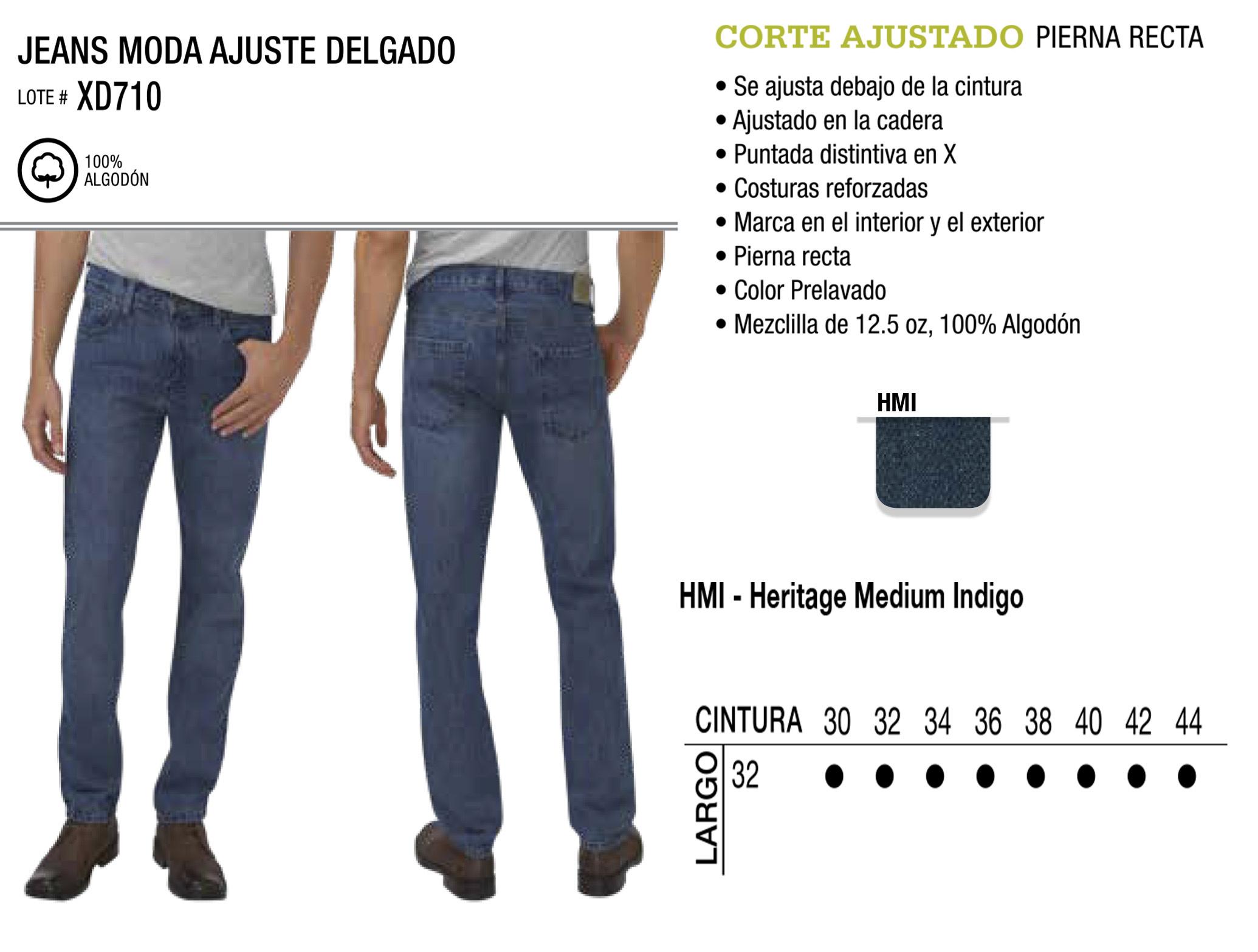 Jeans Moda Ajuste Delgado. Corte Ajustado. XD710.