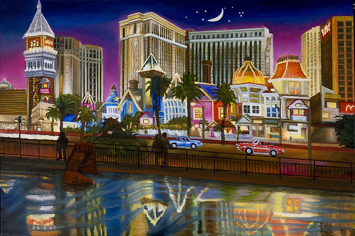 Reflections of Las Vegas 20x30 Original Oil $4200 2013