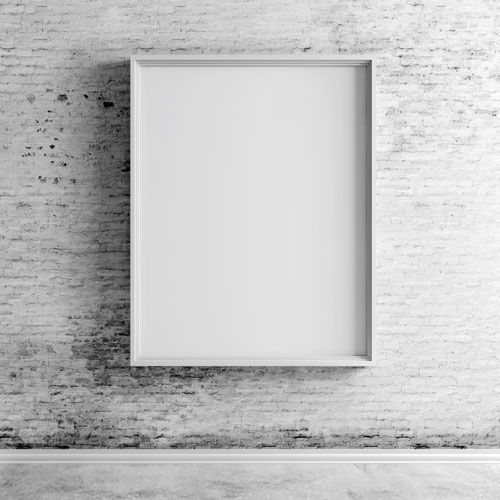 Blank Boards on White Vintage Brick Wall