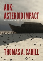 """Ark: Asteroid Impact"" book cover, showing an ark vessel on a rock-strewn beach"