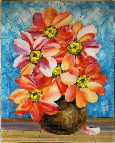 """Zinnia Flowes"" by Nataliya Guchenia Size - 15""H X 12""W $600.00"