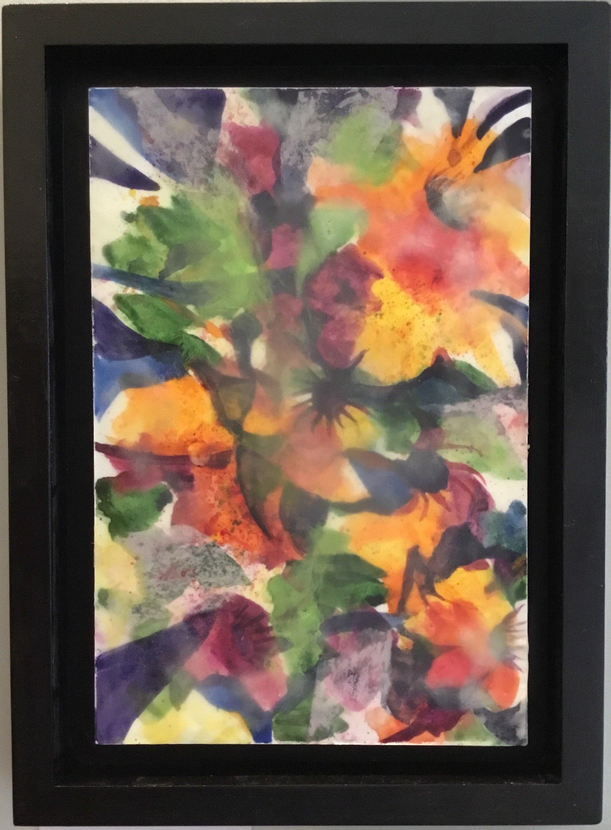 """Floral Explosion Encaustic 8"""" X 10"""" $150."""