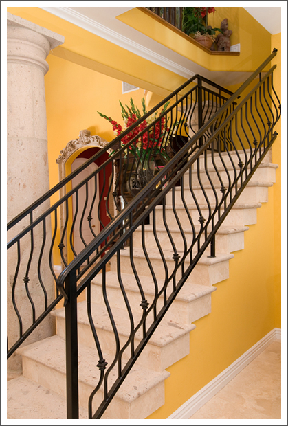Custom stone and iron staircase||||