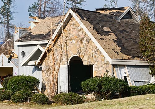 Tornado Destroyed Wood And Stone Exterior Residential House