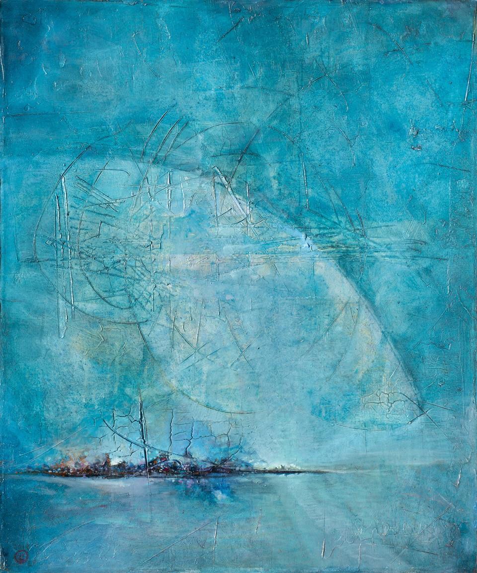 Isla azul óleo s/tela 120 x 100 cms