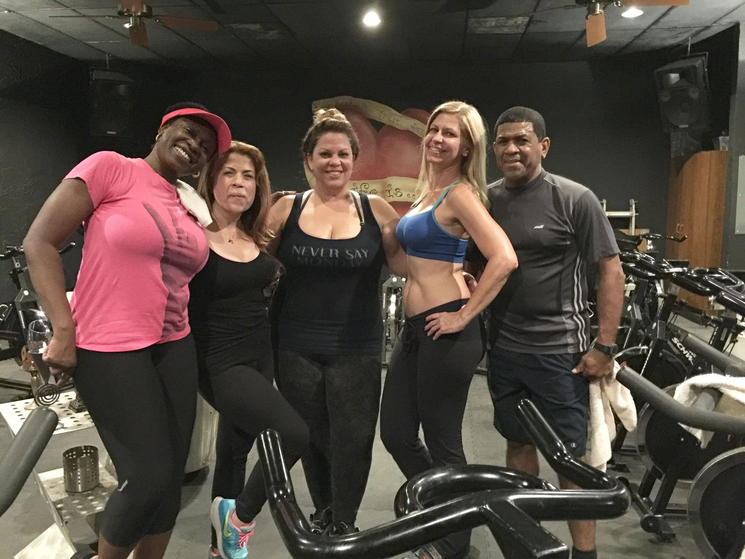 Debbie, Lourdes, Marlene, Marietta and Juan right after Spinning