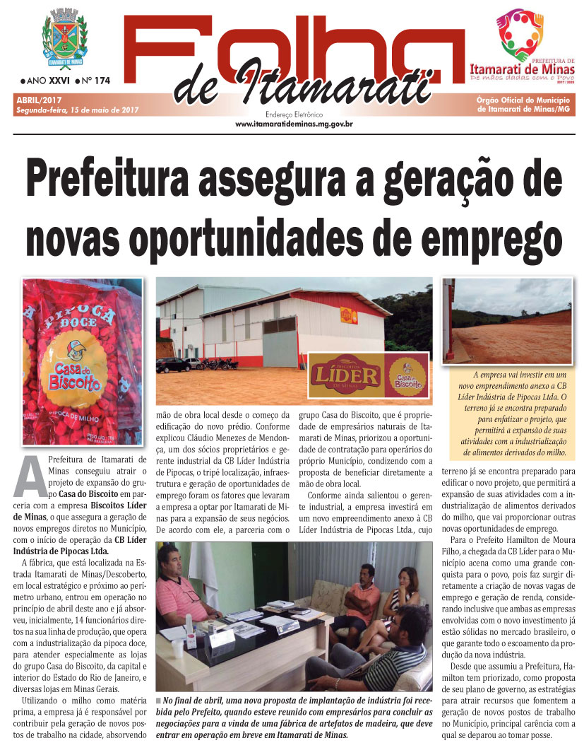 JORNAL DA PREFEITURA DE ITAMARATI DE MINAS ABRIL DE 2017