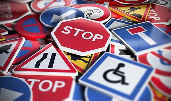 Group of traffic signs