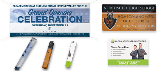 Banners -  Full color printed on  3M material with grommets