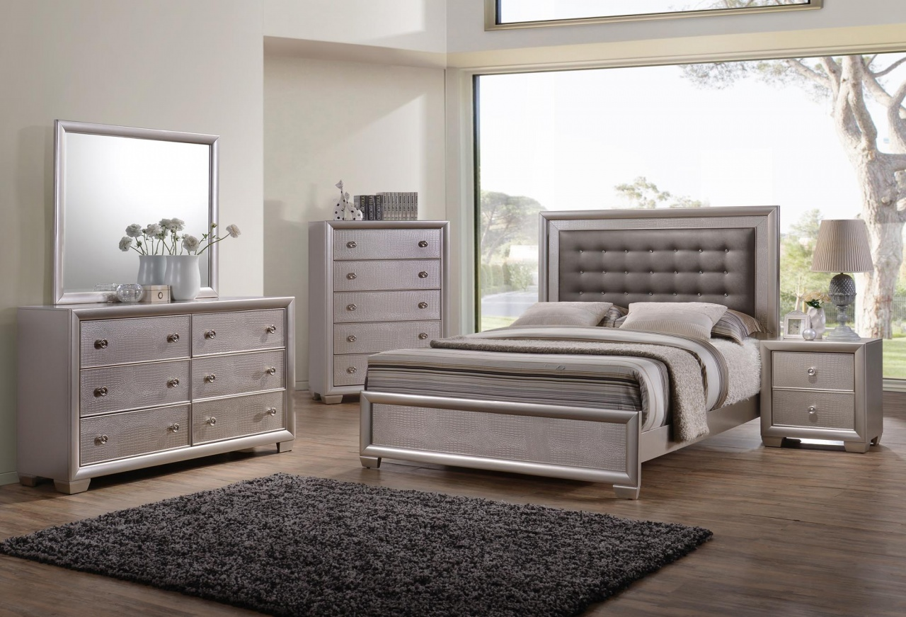 d7551ffbdfc All about Tiffany 4pc Queen Bedroom Set Cream Silver Raymour - www ...