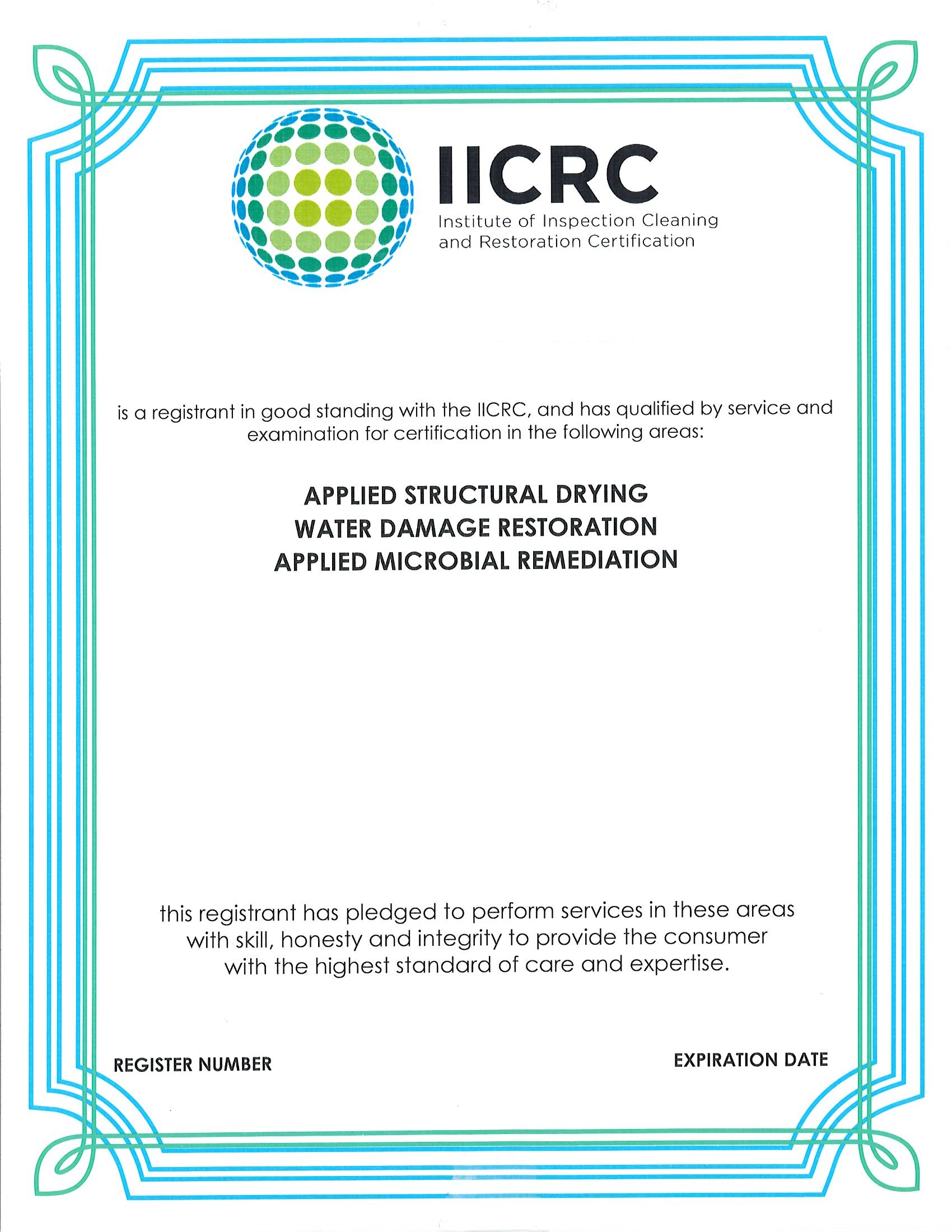 IICRC Certificate 6