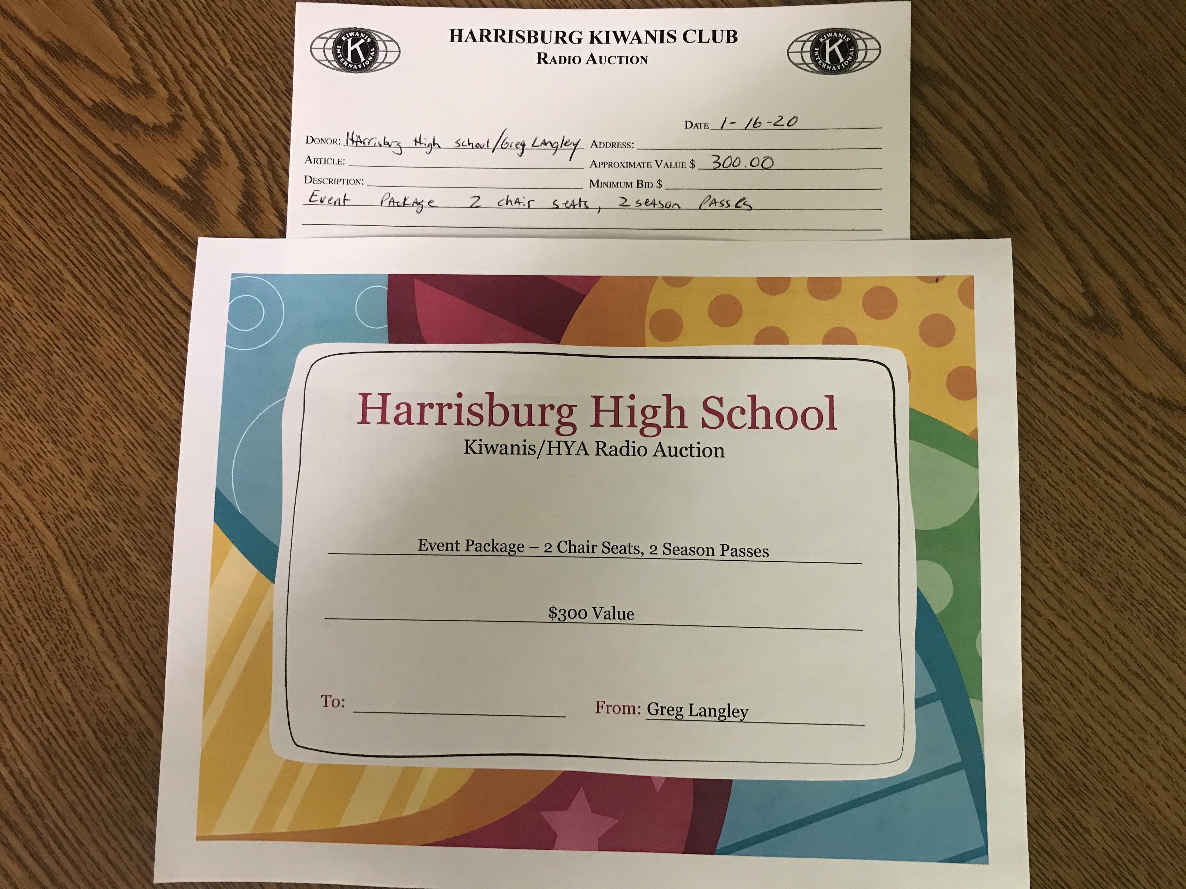 Item 504 - Harrisburg High School Event Package - 2 Season Passes, 2 Chair Seats
