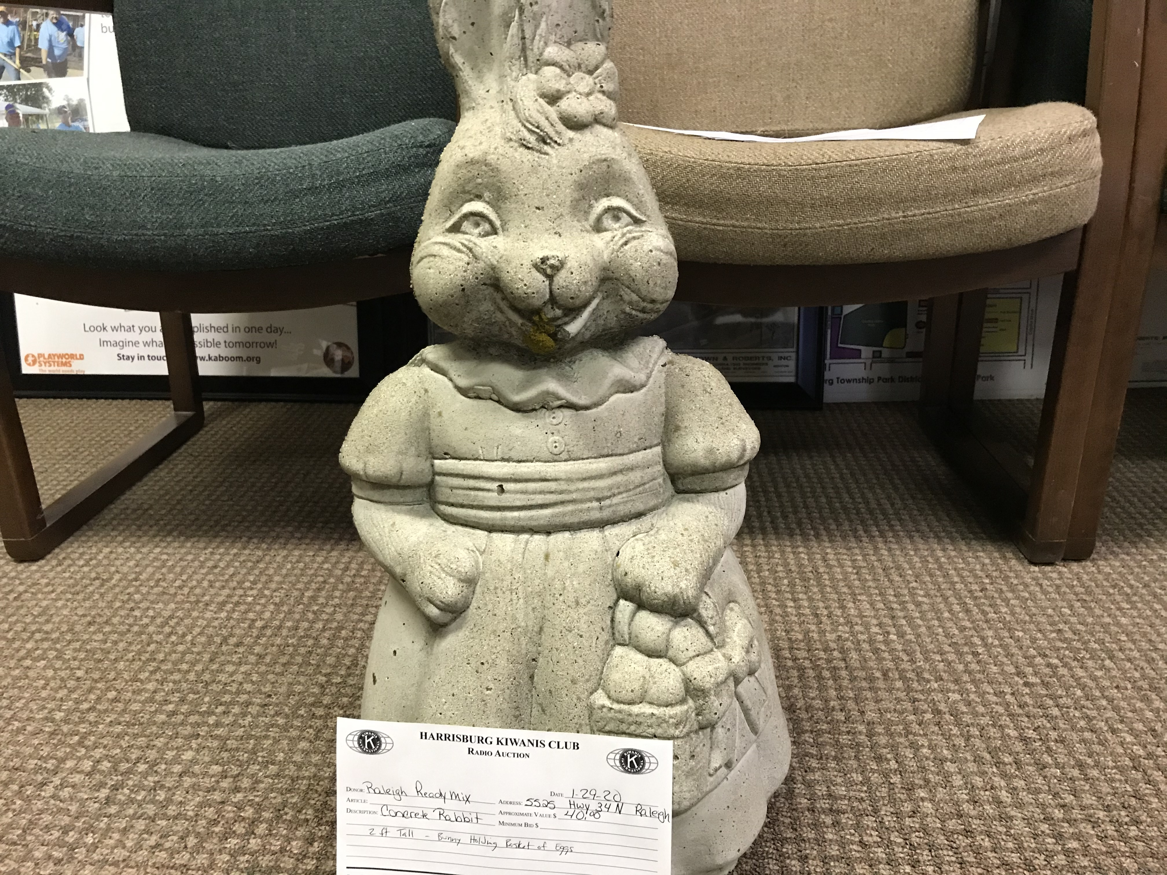 Item 129 - Raleigh Ready Mix Concrete Rabbit - 2ft Tall