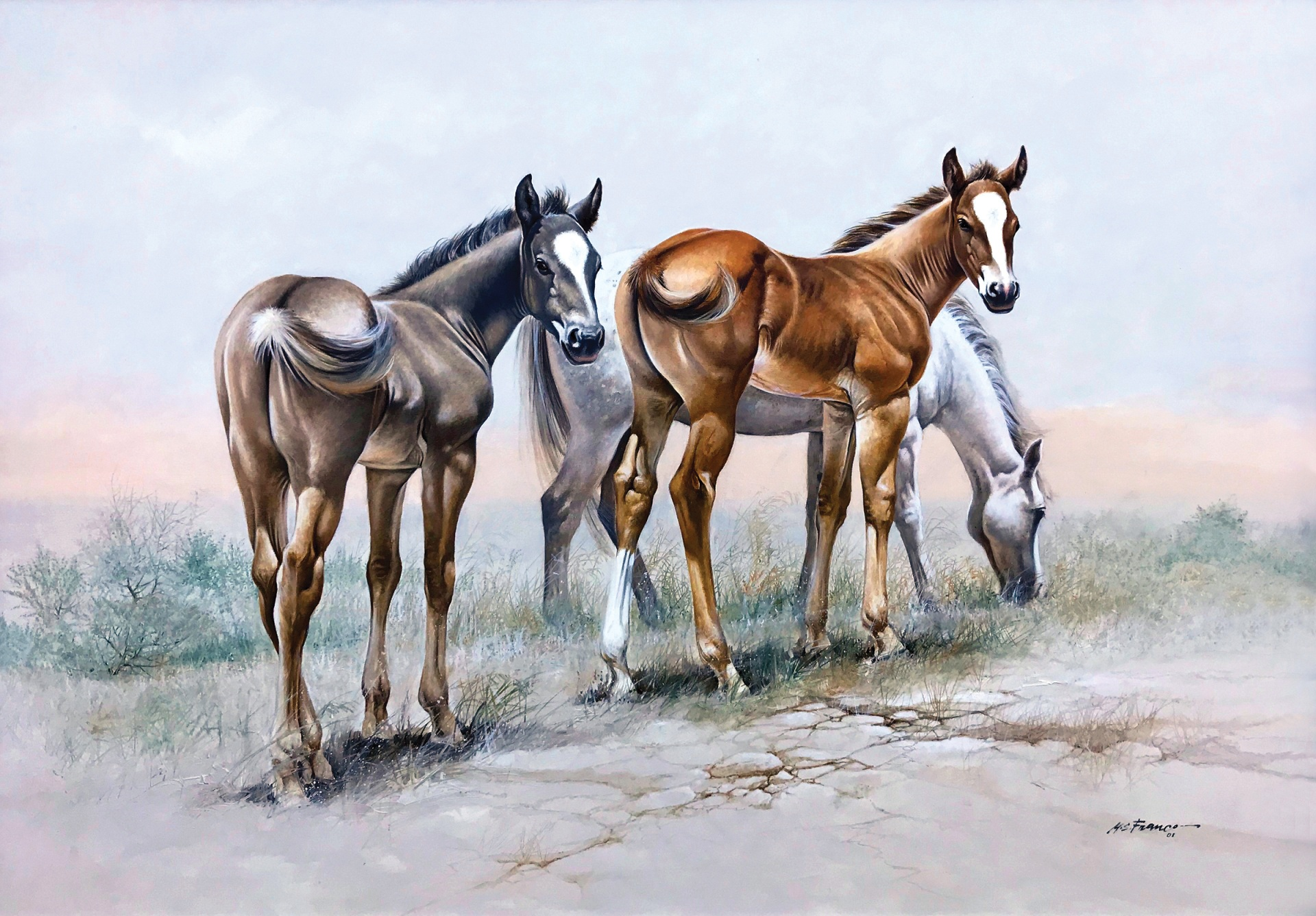""" Pair of Aces "" Image size 27 x 38 1/2"" Oil on Linen"