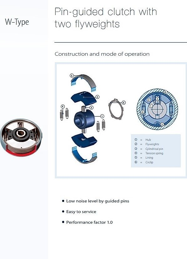 Combidrive, mechanical power transmission - Centrifugal Clutches and