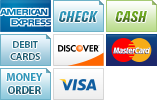We accept American Express, Check, Cash, Debit Cards, Discover, MasterCard, Money Order and Visa.||||