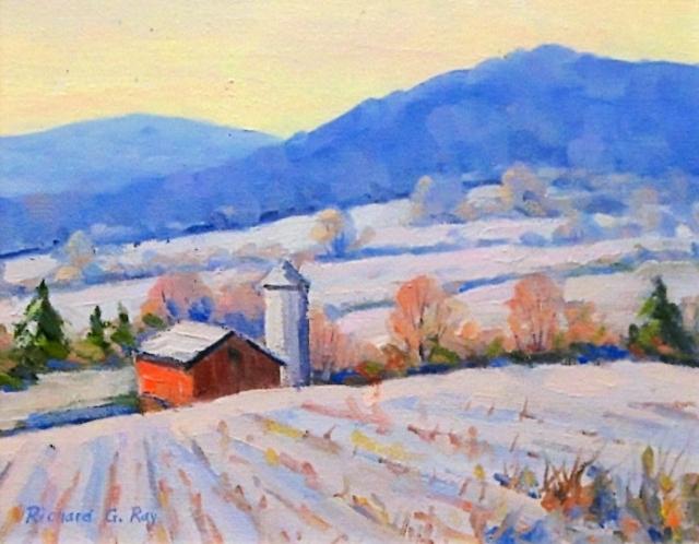 Winter on the Farm, 8 x 10 Oil