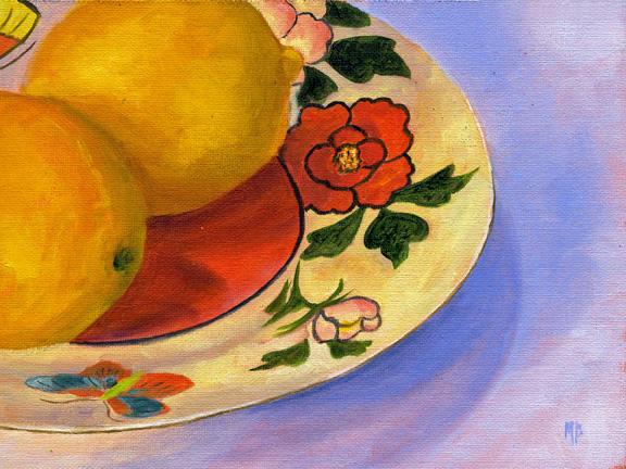 "Lemons On Talavera Pottery ~ 6"" x 8""  Oil on Canvas Panel"