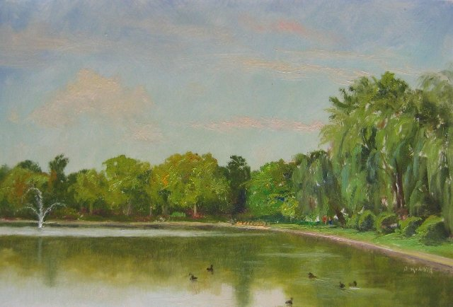 68. Hagerstown City Pond Park, 8x12 oil on panel