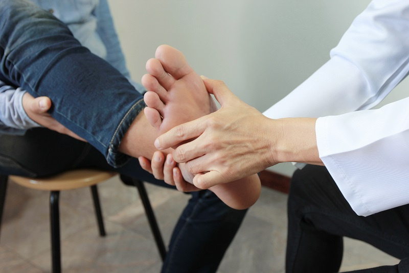 Patient visiting foot and ankle specialist